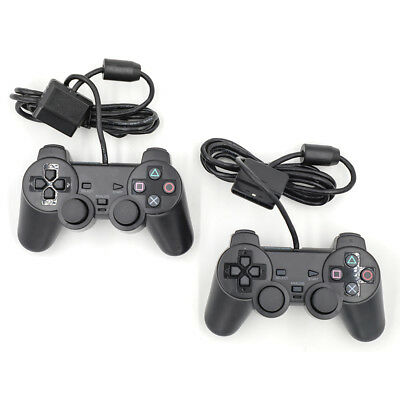 2pcs Black Dual Shock Wired Controller Joypad Gamepad for PS2 Play Station 2