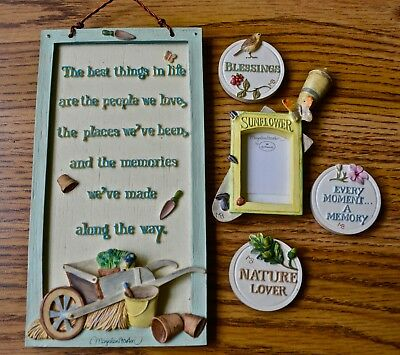 Marjolein Bastin Hallmark Nature's Sketchbook Wall Plaque and Magnets Set of 4