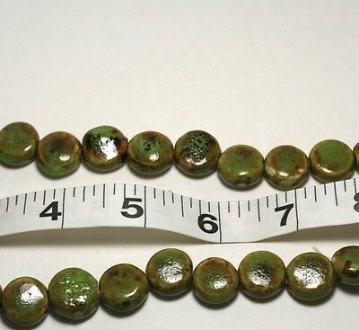 2 Strings of 26 Beads Each Green brown Flat Round 15mm Ceramic Beads