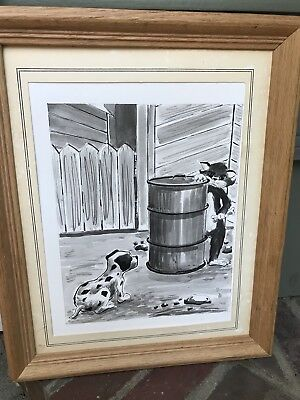 Original Vintage 1961 CARTOON Cat And Dalmatian Puppy Drawing TOONS
