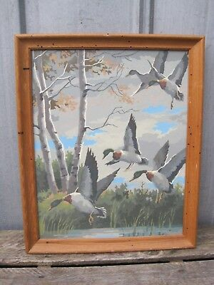 Large Vintage Paint By Number Painting - Ducks Landing On The Water B9005