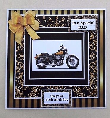"""Handmade 50Th Birthday Card With Motorbike & 3D Bow. Any Age/relative.large 7X7"""""""