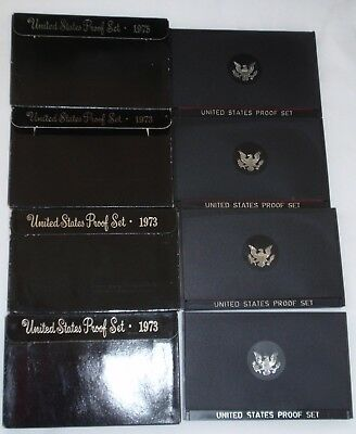 LOT of 4 - 1973-S Proof Set United States US Mint Original Packaging Box Ike $