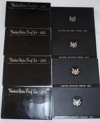 LOT of 4 - 1975-S Proof Set United States US Mint Original Packaging Box Ike $