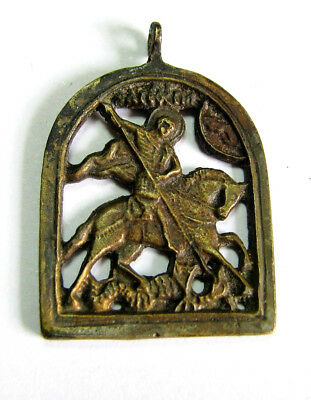 18-19th CENTURY ANTIQUE RUSSIAN BRONZE ICON OF ST.GEORGE KILLING THE DRAGON