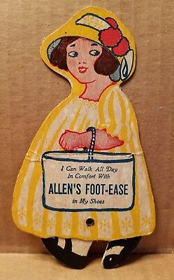 Victorian Mechanical Walking Doll Trade Card Allen's Foot Ease Le Roy New York