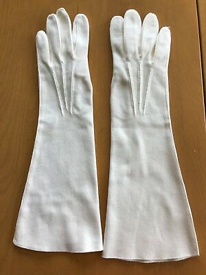 Gloves Vintage Long Ladies Cream-Colored Crescendoe Leather Tailored Size 7