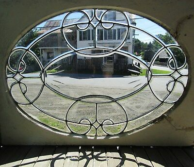 Large Victorian Oval Beveled Glass Window