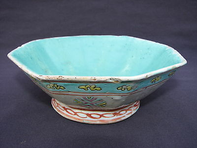 "6"" Antique Chinese Hand Painted Turquoise Famille Rose Earthenware Pottery Bowl"
