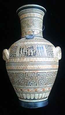 Ancient  Greek  Vase Replica Hand Painted  Geometric  Pottery