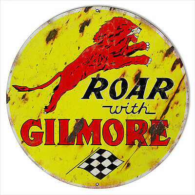 Large Aged Looking Roar With Gilmore Motor Oil Sign 18 Round