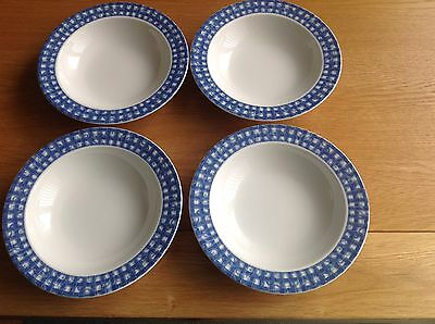 """Oneida """"Blue Heaven"""" Cereal Bowls X 4 Excellent Condition"""