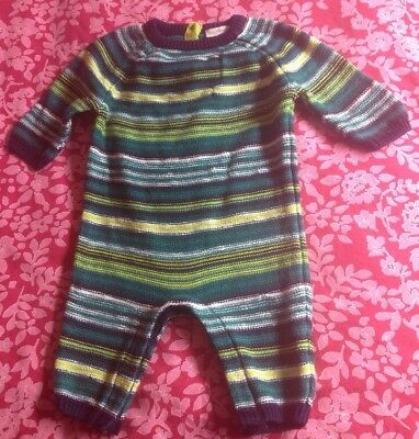 NEXT baby boy 0-3 months Romper 100% Cotton Knitted Green Blue Striped