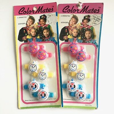 Color Mates Lot of 2 Packs Plastic Clock Hair Barrettes New Vintage Pink 60042BA