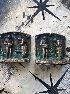"""Pair of Antique cast Iron Bookends Jean-Francois Millet's """"The Angelus"""""""