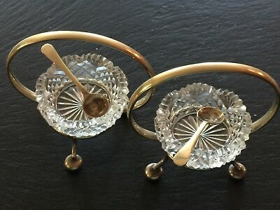 Pair of vintage glass and EPNS framed condiment dishes in good condition