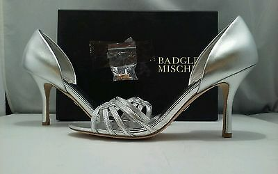 Badgley Mischka Kennedy Silver Leather Women's Dressy Evening Heels Sandals 9 M