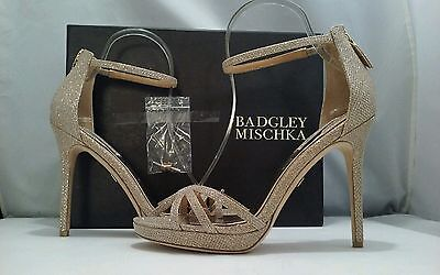Badgley Mischka Signify Women's Latte Glitter Fabric  Evening Heels Sandals 7.5