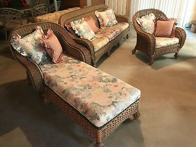 3 Piece Clean Vintage Henry Link Wicker Furniture Sofa Chair Lounge Local Pickup
