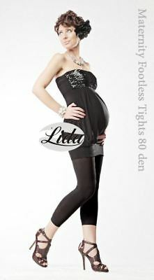 80 Denier Black Maternity Long Leggings by Lida Hosiery No. 410