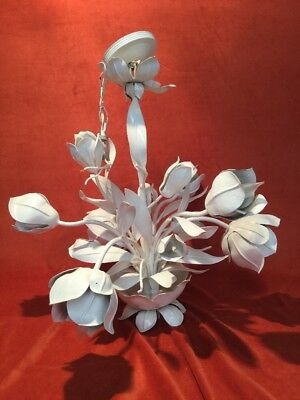Vintage Hollywood Regency Painted White French Floral Tole Metal Chandelier