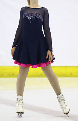 Navy Blue Ice Dance Skating Dress With Fuschia Underskirt with AB Crystals