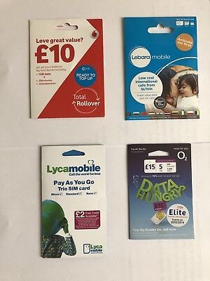 100x mix sims ,Vodafone,lebar,Lyca,02 wholesale joblot. Bulk SIM cards