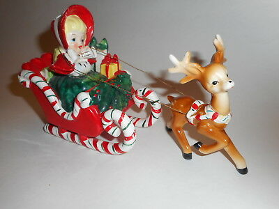 Vintage 1950s Lefton Christmas Shopping Girl Candy Cane Sleigh w Reindeer