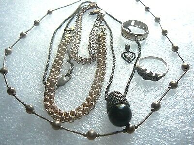 Vintage- Estate Sterling Silver 925 Jewelry Lot- Bracelets-Necklaces-Rings-Charm