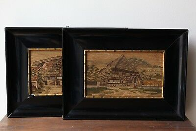 2 dated 1911 framed antique needlepoint chinoiserie provenance Hedwig Göppingen