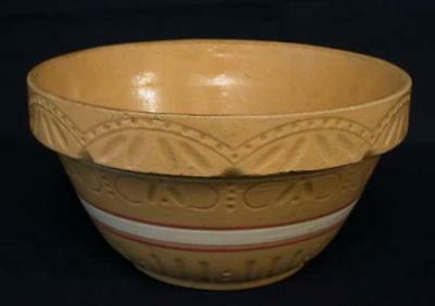 Vtg Rrp Co Roseville Robinson Ransbottom Pink White Bands Yellow Ware Bowl 391