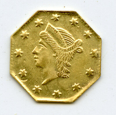 Genuine Fractional 1856 Octagonal 25c (1/4 Dollar) California Pioneer Gold Coin