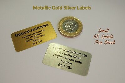 260 Personalised Printed Sticky Address Labels Gold Metallic Silver Stickers