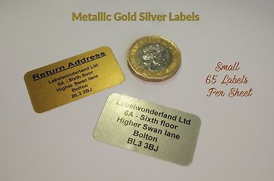 260 Personalised Stickers, GOLD SILVER or WHITE Printed Adhesive Address Labels