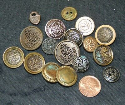 Lot X 17 Vintage Metal Buttons Odd Lot of Vintage Buttons