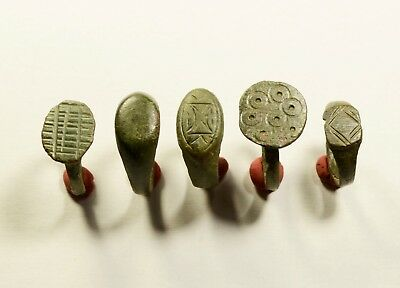 Lot Of 5 Roman / Post Medieval Decorated Wearable Rings - Great Artifacts
