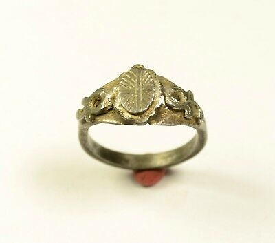 Interesting Billon Medieval Ring With Decorated Bezel - Interesting Style