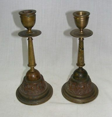 A Pair Of French Unique Brass Candle Stand With Pictorial Horses House
