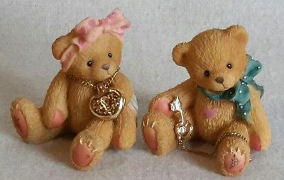 Collectible Cherished Teddies His and Hers Key to My Heart Figurines #302759