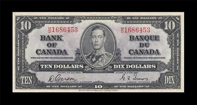 1937 BANK OF CANADA KGVI $10 **Gordon & Towers** (( EF ))