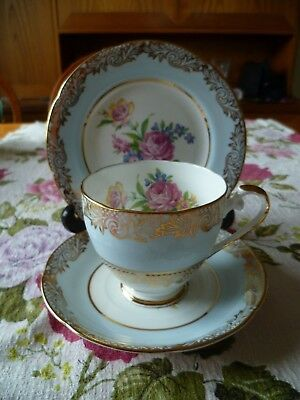 Lovely Vintage Dakin English China Trio Tea Cup Saucer Blue Gilded Flowers