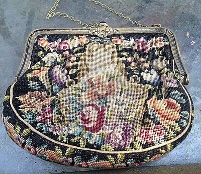 Antique Victorian Jeweled , micro Petit Point Scenic Flowers . Purse