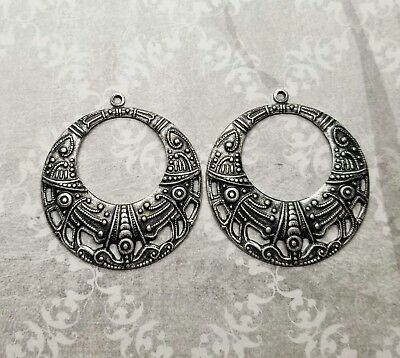 Large Oxidized Silver Ornate Charms (2) - SOS5897