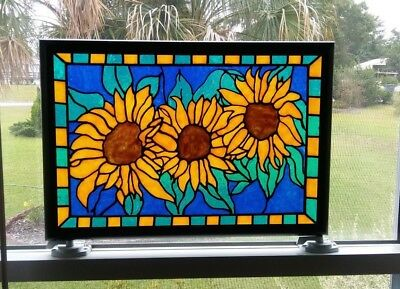 Sunflowers Stained Glass Window Panel Hand Painted