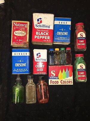Lot Of Vintage Baking Spice Tins, Glass Food Coloring, Unes Sugar Crystals