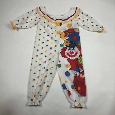 Vtg Wundies Childs Size 6 Clown Playsuit Romper Costume Pajamas Unisex