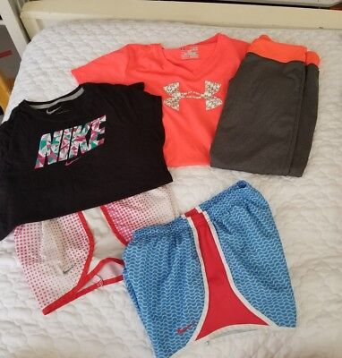 Girls Youth LARGE L Lot NIKE UNDER ARMOUR shirts shorts leggings
