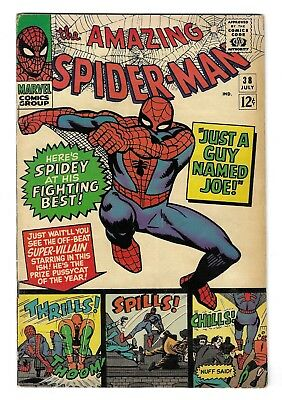 AMAZING SPIDER-MAN 38 SILVER AGE MARVEL COMIC BOOK 2nd Mary Jane Watson 1st Face
