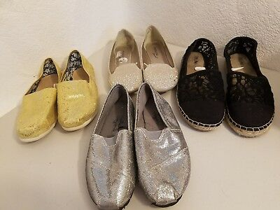 womens shoe lot of 4 size 7 flats sparkle glitter gold silver black roper