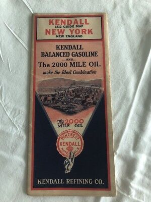 1932 Kendall Refining Co Kendall Gasoline & Oil New York New England Road Map